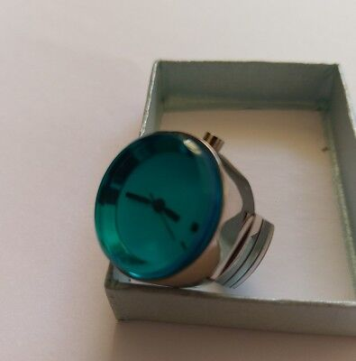 Blue Retro Watch Ring St/Steel Glass Front