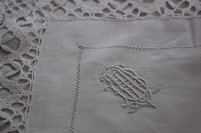 Antique French monogrammed linen FIL Pillow case Cluny lace cXIX 1910-1930