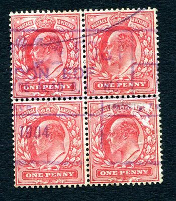 1902 - SG 219 GB 1d Block of Four Stamps - Used