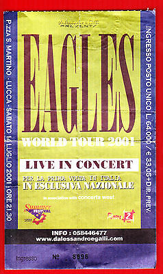The EAGLES italian Concert Ticket Stub 2001 Lucca Rare first time in ITALY