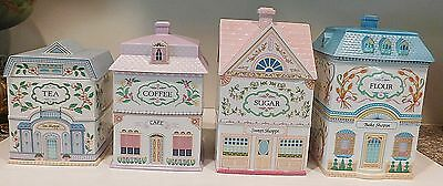 Lenox Victorian Village 8 piece Porcelain Canister Set Flour Sugar Coffee Tea