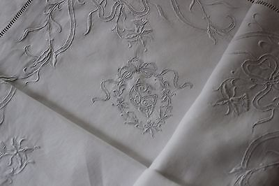 RARE Antique Pillow Case SWISS  Appenzell  embroideries .Pure linen FIL   cXIX