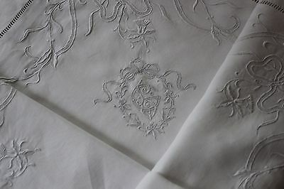 RARE Antique SWISS  Appenzell  embroidered Pillow case.Pure linen FIL   cXIX
