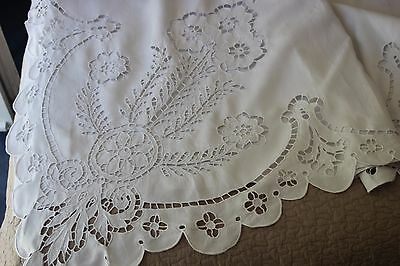 Antique French Pure Linen FIL Sheet Colbert-Renaissance 2 Matching Pillows c XIX