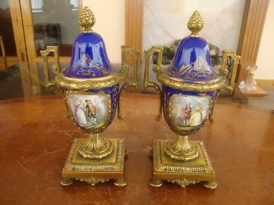 Stunning Pair Of Antique French Sevres Porcelain & Ormulo Hand Painted Vases.