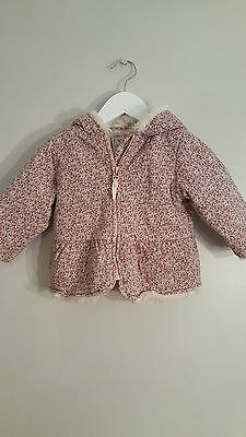 Childs Next Pink floral fur lined coat 9-12 months