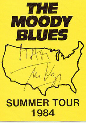 Moody Blues Summer Tour 1984 backstage pass signed by Mike Keys