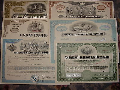 Americas Greatest Corporations Stock Certificate Set AT&T Union Pacific Pan Am