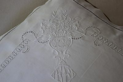 Rare Antique French Linen FIL Pillow Case. EF Monogram. Point de Venise c XIX