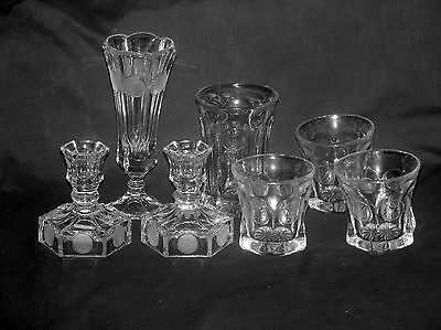 Fostoria Clear Coin Glass 7 Piece Lot Tumbler Whiskey Glasses Vase Candlesticks