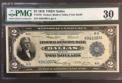 1918 Dallas $2 Federal Reserve Bank Note Fr#776 - Pmg Very Fine 30