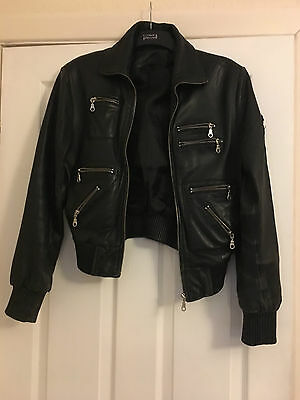 Vintage black real leather flight jacket size Large/14, 36""