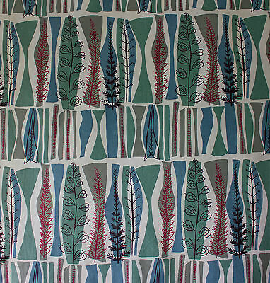 vintage 1950s Heals Coppice Mary White abstract trees print cotton fabric blues