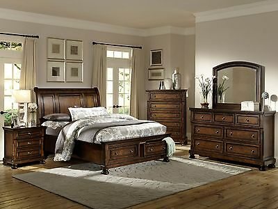 5pcs Traditional Brown King Size Sleigh Storage Bedroom Set Furniture NEW - IA41