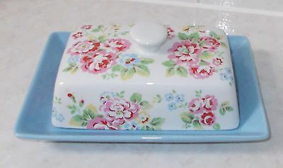 Cath Kidston Spray Flowers Blue Base Butter Dish In Excellent Condition