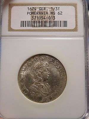 1674 German 1/3 Thaler Pomerania Graded MS62 by NGC