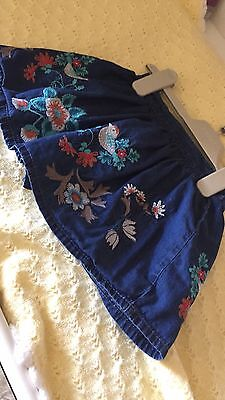 Next Baby Girls Teal Woodland Denim Skirt 6-9 Months