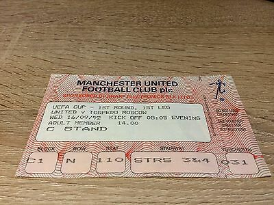 Manchester United V Torpedo Moscow - Uefa Cup 1992-1993-Ticket Stub