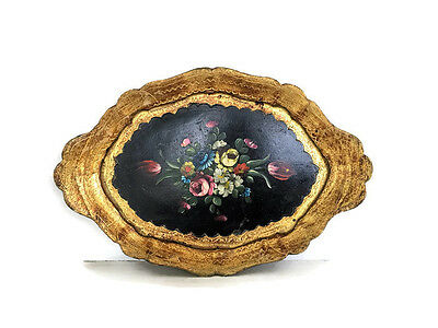 Florentine Tole Toleware Dresser Tray Black floral Vintage Hand Painted Flowers