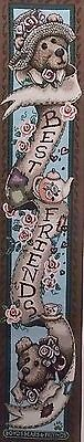 """Boyds Bears """"Best Friends - Afternoon Tea"""" Tapestry Bell Pull 8"""" x 41.5""""  EUC"""