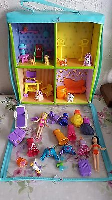 Bundle of Magnetic Polly Pocket dolls and Clothes with House carry case