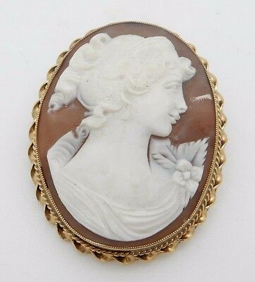 Antique Solid 14K Yellow Gold Large Cameo Pin/Brooch/Pendant