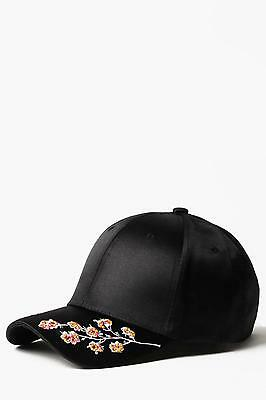 Boohoo Mens Black Floral Embroidered Cap in Black size One Size