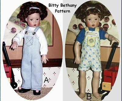 """PDF Sewing Pattern for 11"""" Kish Bitty Bethany Doll Overalls Shortalls T-Shirt"""