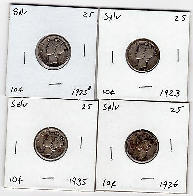 A lot of 4 Mercury silver dimes years 1923, 1925, 1926, and 1935