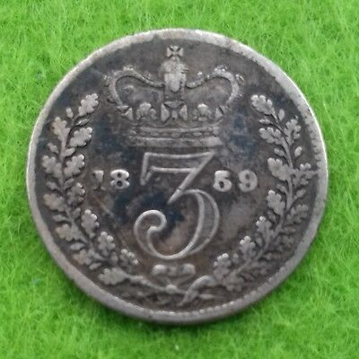 1859 Victoria Young Head Silver Threepence (F)