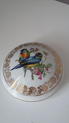 Limoges Porcelain Trinket Dish with Paraqueet birds on lid
