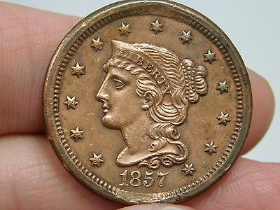 1857 Small Date Planchet Defect Large Cent Almost Uncirculated