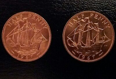 1967 Half Penny Elizabeth II. Two Uncirculated coins with copper lustre.