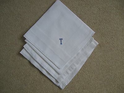 Collection of 4 Vintage Gents Cotton Handkerchiefs