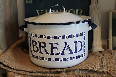 Large Vintage Enamel White Polish BREAD BIN Kitchenalia. Retro.