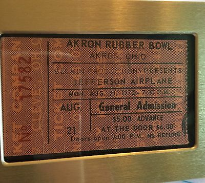 Concert Ticket Jefferson Airplane 1972 Akron Rubber Bowl