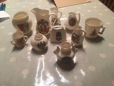 W.H.Goss Joblot Of 10 Crested China Pieces