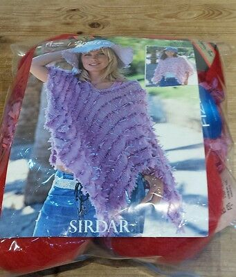 Red & Pink Poncho Knitting Kit Includes Yarn  ( Copy ) Of Pattern Adult &child