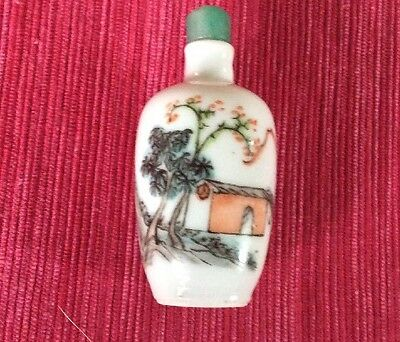 Vintage estate Small  Chinese Snuff Bottle Jade stopper spoon