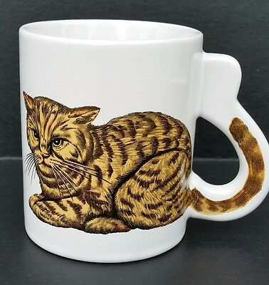 Cat Lovers Coffee Mug Tiger Cat Coffee Cup Unique Tail Handle Butterscotch