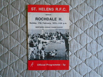 St Helens V Rochdale Hornets Rugby League Match Programme February 1974