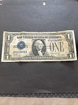 Vintage-1928-A-1-Silver-Certificate-One-Dollar-Bill-Funnyback-Blue-Washington