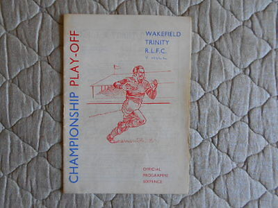 Wakefield Trinity V Hull Rugby League Play-Off Match Programme April 1966