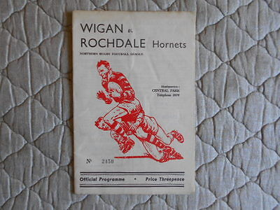 Wigan V Rochdale Hornets Rugby League Match Programme April 1959
