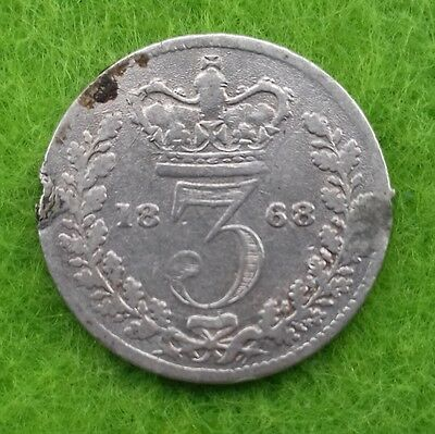 1868 Victoria Young Head Silver Threepence (F)