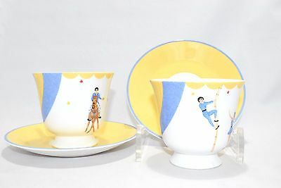 HERMES Le Clown Circus tea Cup and Saucer with Box Set of 2 White Yellow Blue