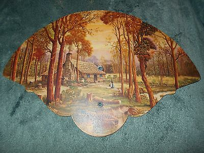 Old Tri-Fold Paper Fan, Log Cabin Design,  Stanley Mortuary, New Castle Indiana