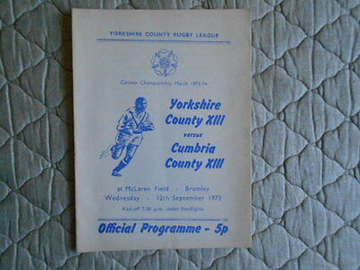 Yorkshire V Cumbria Rugby League County Championship Match Programme 1973