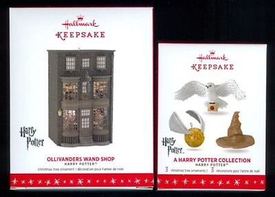 2 Hallmark Harry Potter Ornament2016 Wand Shop + White Owl Hedwig, Snitch & Hat