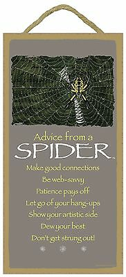 Advice from a Spider Inspirational Wood Nature Insect Sign Plaque Made in USA